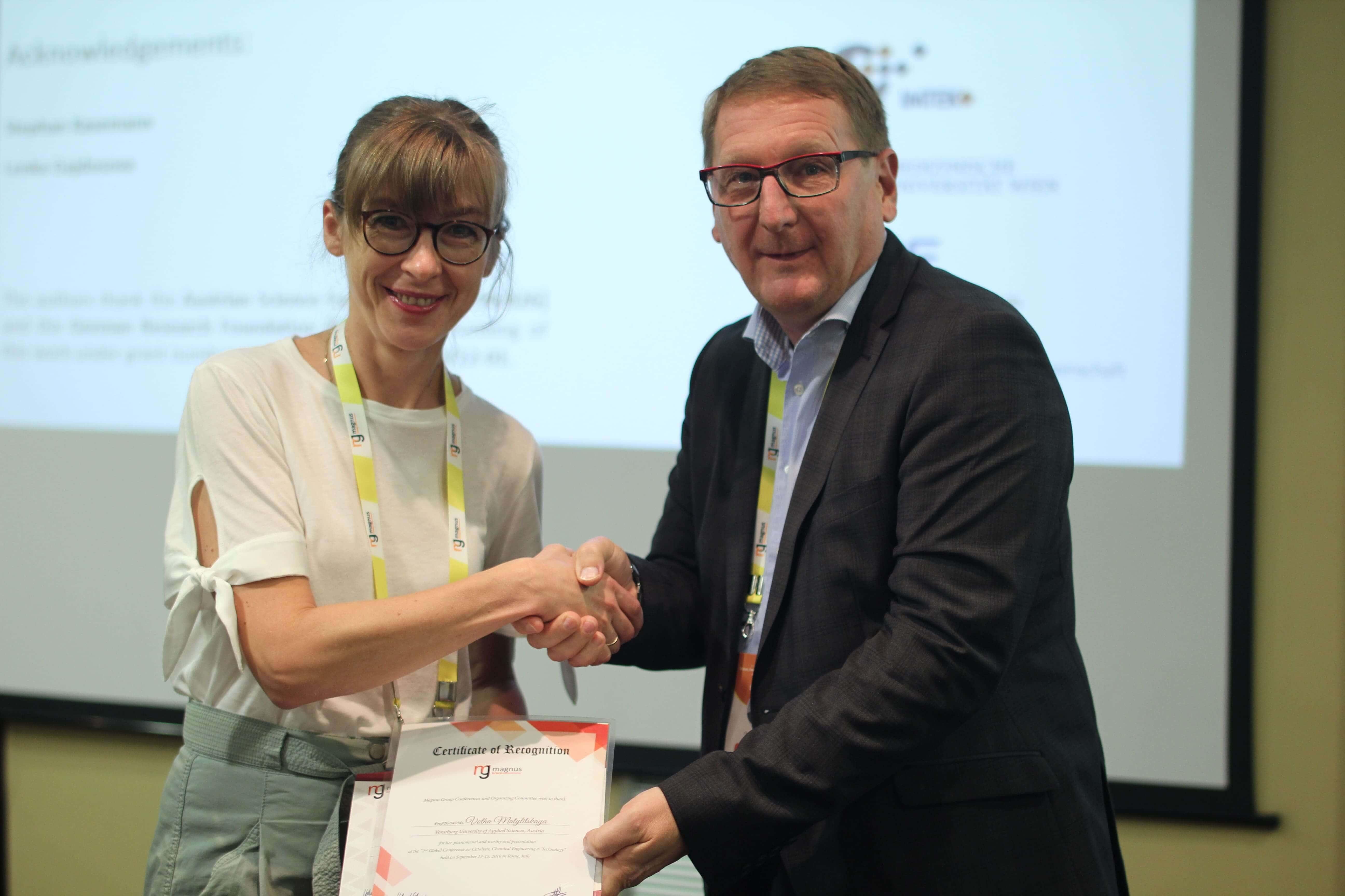 Volha Matylitskaya felicitated by Christophe LEN